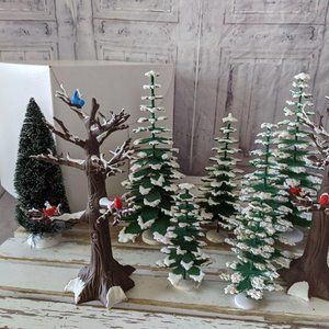 Dept 56 winter pine bear trees bird set 9 plastic